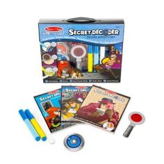 These Secret Decoder Activity Sets from Melissa & Doug create a whole new level of fun for the kids. The activity sets are a perfect way to learn while the kids have fun. Travel Activities, Book Activities, Spy Technology, Kite Shop, Magic Revealed, Puzzle Shop, Spy Gadgets, Activity Games, Activity Books