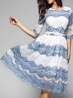 Stunning Tie Belt Print Lace Dress