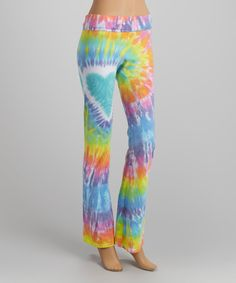 Another great find on #zulily! Pastel & Turquoise Heart Tie-Dye Yoga Pants - Women by Groovy Blueberry #zulilyfinds