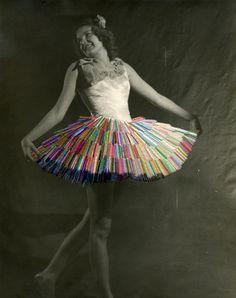 """Julie Cockburn--vintage ballerina gets colorful stitching """"tutu make-over"""""""
