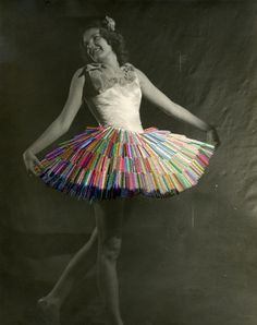 "Julie Cockburn--vintage ballerina gets colorful stitching ""tutu make-over"""