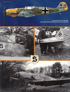 Messerschmitt Bf of Adolf Galland, Kommodore of JG 26 Luftwaffe, Ww2 Aircraft, Military Aircraft, Adolf Galland, Photo Avion, Messerschmitt Me 262, Ww2 Pictures, Ww2 History, War Thunder