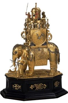 Elephant Automaton Clock, 1600-1625, German (Augsburg), Gilt metal with enameling, Presented to the Martin D'Arcy Museum of Art by Mrs. Thomas Stamm with deep appreciation and affection in recognition of Rev. John J. Piderit, S.J., 22nd President, Loyola University Chicago, 89-03, Loyola University Museum of Art: