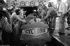 Easy rider: Michael Boodley, of Trenton, New Jersey, completes a record-setting 1,1,000th ride on the Cyclone roller coaster at Coney Island's Astroland Park on August 14, 1975