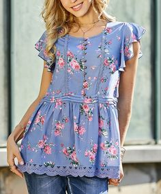 Take a look at this Blue Floral Button-Accent Lace-Hem Tunic - Plus Too today!