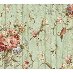 Bird Rose French Cottage Wallpaper Ha1326 Double Roll Bolts Floral Blue Parrots