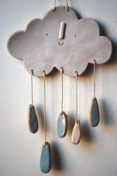 Image of Cloud wall mobile/hanging click the image for more. - Image of Cloud wall mobile/hanging click the image for more details. Ceramic Clay, Ceramic Pottery, Pottery Art, Clay Projects, Clay Crafts, Ceramics Projects, Decoration Creche, Cloud Decoration, Cerámica Ideas