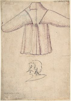 A costume and a sketch of a man in profile.  Anonymous, German, 16th century