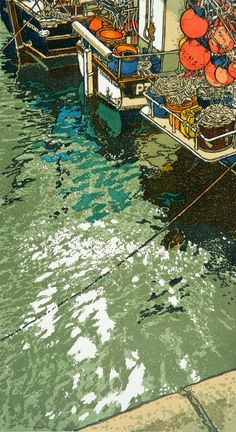 Linolio cut multicolor print - Shimmering Light by H.J. Jackson http://www.norwichprintfair.co.uk/view-item.asp?iid=337
