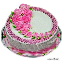 Amazegifts has cakes for all its visitors, this eggless decorative cake is for vegetarians. # amaze gifts Celebrate with your loved ones with the eggless cake marvelously decorated with rose shaped cream topping. # amaze gifts