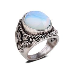 Yazilind Vintage Antique Oval Cut White Opal Retro Silver Plated Embossed 6.5 8 9 Ring Women - CHECK IT OUT @ http://www.finejewelry4u.com/jew/101618/150720