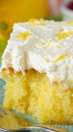 Drenched Lemon Cream Cake - Delicious | Cake | Recipes | Lemon Cake | Yummy | Food www.pinright.com
