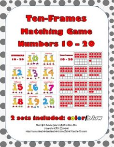 Fun Math Matching Game .... Students match the numbers 10 - 20 to the ten-frames.... 2 sets are included:color and black & white