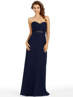 jim hjelm occasions bridesmaid chiffon strapless a-line cross over draped natural sheer 5451
