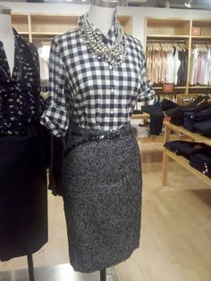 J.Crew Store Styling tweed and gingham. Really love this classy style