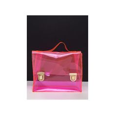 So Transparent Clear PVC Bag (440 MXN) ❤ liked on Polyvore featuring bags, handbags, shoulder bags, pink, pink purse, clear handbags, pink handbags, purse shoulder bag and clear purse