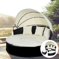 Round with Retractable Canopy Wicker Rattan Round Daybed