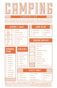 Print This FREE Camping Checklist From FamilyTrails Outward Bound Adventures