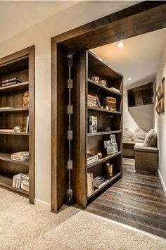 31 Insanely Clever Remodeling Ideas For Your New Home Would absolutely add secret rooms & one safe room with same hidden idea.one would be mine, all mine.to just hide & read! Style At Home, Safe Room, My New Room, Home Fashion, My Dream Home, Dream Homes, Home Projects, Led Projects, Future House