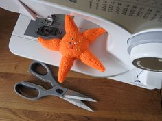Orange Starfish Pin Cushion Critter, Desk Toy, Hand knitted by knitsummore on Etsy Treat Her Right, Desk Toys, Little Critter, Stocking Fillers, Pin Cushions, Starfish, Fiber Art, Hand Knitting, Handmade Items