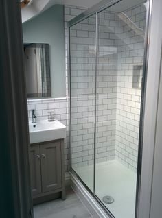 Small loft conversion bathroom shower room in SE London Wall paint - Little… Bathroom Shower Panels, Loft Bathroom, Upstairs Bathrooms, Bathroom Floor Tiles, Ensuite Bathrooms, Small Bathroom, Tile Floor, Loft Conversion Ensuite, Small Shower Room