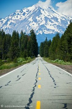 The road to Mount Shasta California.