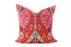 Vibrant ikat pattern pillow cover in Marsala, poppy red, hot pink with hints of tourquoise and yellow. Medium weight decorator sateen cotton. A