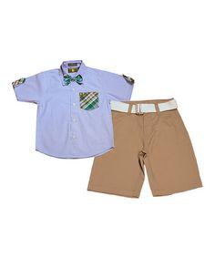 Look at this #zulilyfind! Light Blue & Khaki Plaid Button-Up Set - Infant, Toddler & Boys #zulilyfinds