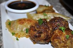 Pork pot stickers and spicy meatballs with Sriracha-ginger dipping sauce.