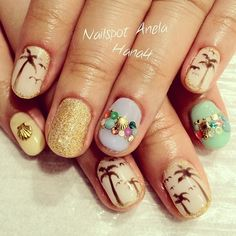 AL☮HA Nails - Pastel Summer Nails with Palm Trees and Shells