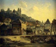 Gezicht op de Waalkade met Veerpoort door Peter Martinus Post - 1853.