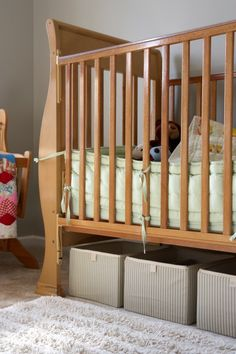 Beautiful Bins Under Crib For Extra Storage. A Bed Skirt Would Hide Them.