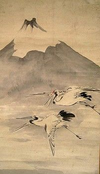 Fuji with two cranes