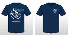 T-shirt design- Athena's pack Design Agency, Logo Design, Dog Branding, T Shirt, Mens Tops, Fashion, Supreme T Shirt, Moda, Tee Shirt