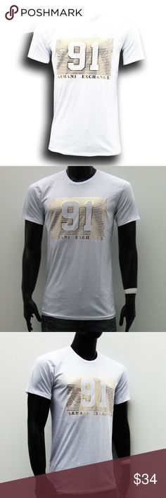 """Armani Exchange Gold Logo Men's White Slim Fit. Armani Exchange Gold Logo Men's White Slim Fit T-shirt short sleeve   L : armpit to armpit 20""""-20.5"""" , length 28,5"""" (3516)  XL : armpit to armpit 20.5""""- 21"""", length 30"""" - 30,5"""" (3515)  Please refer to our size chart before buying, To make sure you get the right size,  • Soft-touch • Slim fit • Machine wash • 95% Cotton, 5% Elastane • Made in Peru  Fast Shipping: Most orders are shipped on the same day and you will receive your t-shirt in 2--4…"""