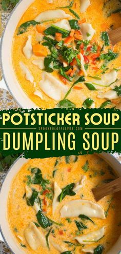 This Potsticker Soup is packed with Thai coconut curry flavors and tasty potstickers! This easy dinner idea is sure to become one of your favorites. This easy soup recipe is the best fall comfort… Hearty Soup Recipes, Fall Recipes, Thai Coconut, Coconut Curry, Dumplings For Soup, Cozy Meals, Best Comfort Food, Healthy Soup, Soups And Stews
