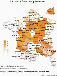 Les noms de famille les plus portés en France -  Répartition géographique. Origine.  Recensement INSEE.