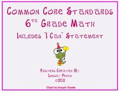 TWO SETS of 6th Grade Math Common Core Standard Posters for your classroom - to make daily objective a little easier! One set includes an