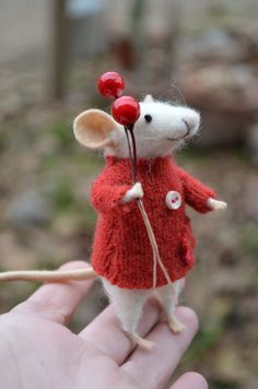 The Little Mouse with recycled swaeter - unique - needle felted ornament animal, felting dreams by johana molina - made to order
