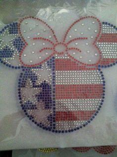 Minnie Mouse Inspired of July iron on rhinestone transfer motif DIY via Etsy July 4th Holiday, Fourth Of July, Clear Plastic Sheets, Star Diy, Rhinestone Transfers, Disney Diy, Disney Shirts, Usa Flag, Crystal Rhinestone