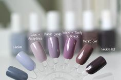 Essie Grey-Purples Comparison : Lilacism, Love & Acceptance, Bangle Jangle, Warm & Toasty Turtleneck, Merino Cool & Smokin' Hot