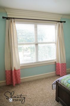 $100 OnlineFabricStore.net gift card giveaway over at @Shanty-2-Chic.com, plus their No Sew Curtains tutorial using Waverly lovely lattice bloom fabric!