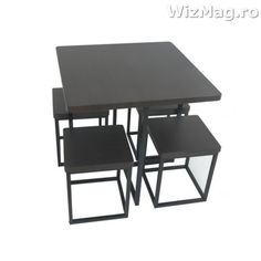 Masa bucatarie WIZ cu scaune mbs-7 negru Drafting Desk, Furniture, Home Decor, Decoration Home, Room Decor, Home Furnishings, Home Interior Design, Drawing Board, Home Decoration