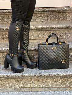 Sneakers Fashion, Fashion Shoes, Fashion Handbags, Gucci Handbags, Louis Vuitton Boots, Chanel Boots, Leder Outfits, Cute Boots, Mode Style