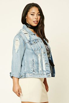 Forever 21+ - A woven denim jacket featuring an allover distressed look and acid wash, long sleeves with button cuffs, front button flap pockets, a basic collar, a button-down front, front slant pockets, and interior patch pockets.