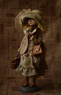 Купить охота к перемене мест... - коричневый, золотистый, оливковый, кукла, интерьерная кукла, подвижная кукла