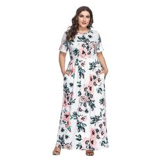 HOOYON Women s Casual Floral Printed Long Maxi Dress with Pockets(S-5XL). Plus  Size Outfits ... 68ae57ad5df5