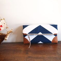 Navy/Nautical Fold over Clutch purse/ bluewhite by ElevenRoosters, $55.00: