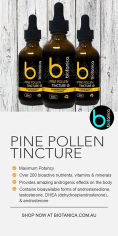 Maximum Potency 10:1 Tincture Pine Pollen is Nature's Superfood, with over 200 bioactive nutrients, vitamins and minerals and is the only natural source of the 'wonder hormone', DHEA.  Pine pollen provides amazing androgenic effects on the body and hormone balance for both men and women. It contains bioavailable forms of androstenedione, testosterone, DHEA (dehydroepiandrosterone), androsterone and a wide variety of other steroidal-type substances.