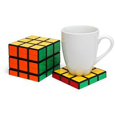 Rubik's Cube Coasters - I think I could even make these. :)